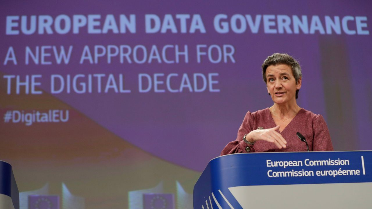 Photo: European Executive Vice-President Margrethe Vestager and European Commissioner for Internal Market and Services Thierry Breton (not seen) give a news conference on the Data Governance Act at the European Commission in Brussels, Belgium November 25, 2020. Credit: Stephanie Lecocq/Pool via REUTERS
