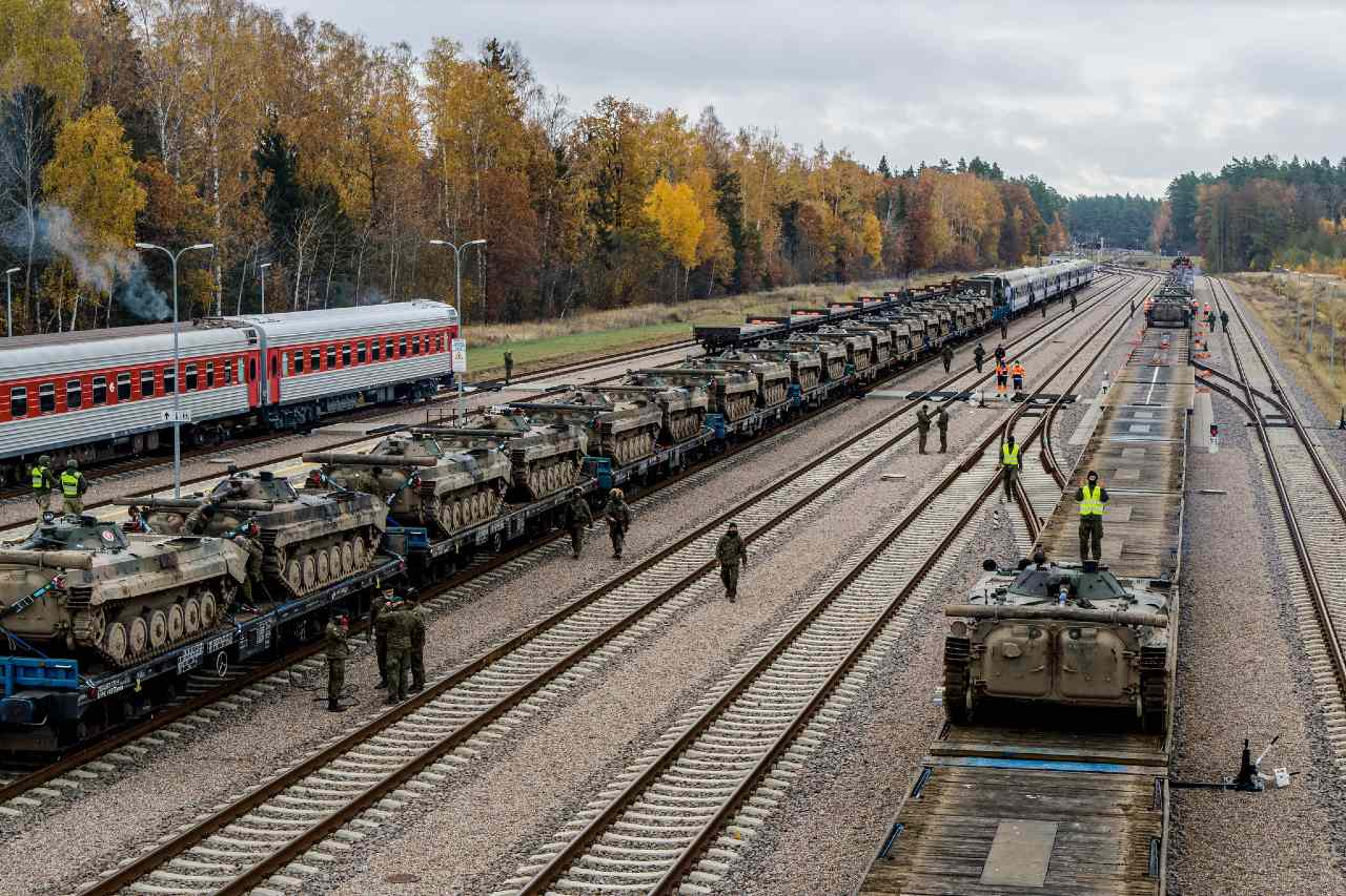 Photo: Polish Army BMP-1 Infantry Fighting Vehicles transferred rail cars at the Lithuanian rail yard of Mockava during Exercise Brilliant Jump 20. Brilliant Jump is a deployment exercise designed to test the readiness of NATO's spearhead unit, the Very High Readiness Joint Task Force. The VJTF deployed to Lithuania by land, air and sea to take part in the Lithuanian national exercise Iron Wolf II. To avoid the spread of COVID-19, the deploying forces avoided civilian populations on their way to Lithuania and practiced social distancing. Credit: NATO