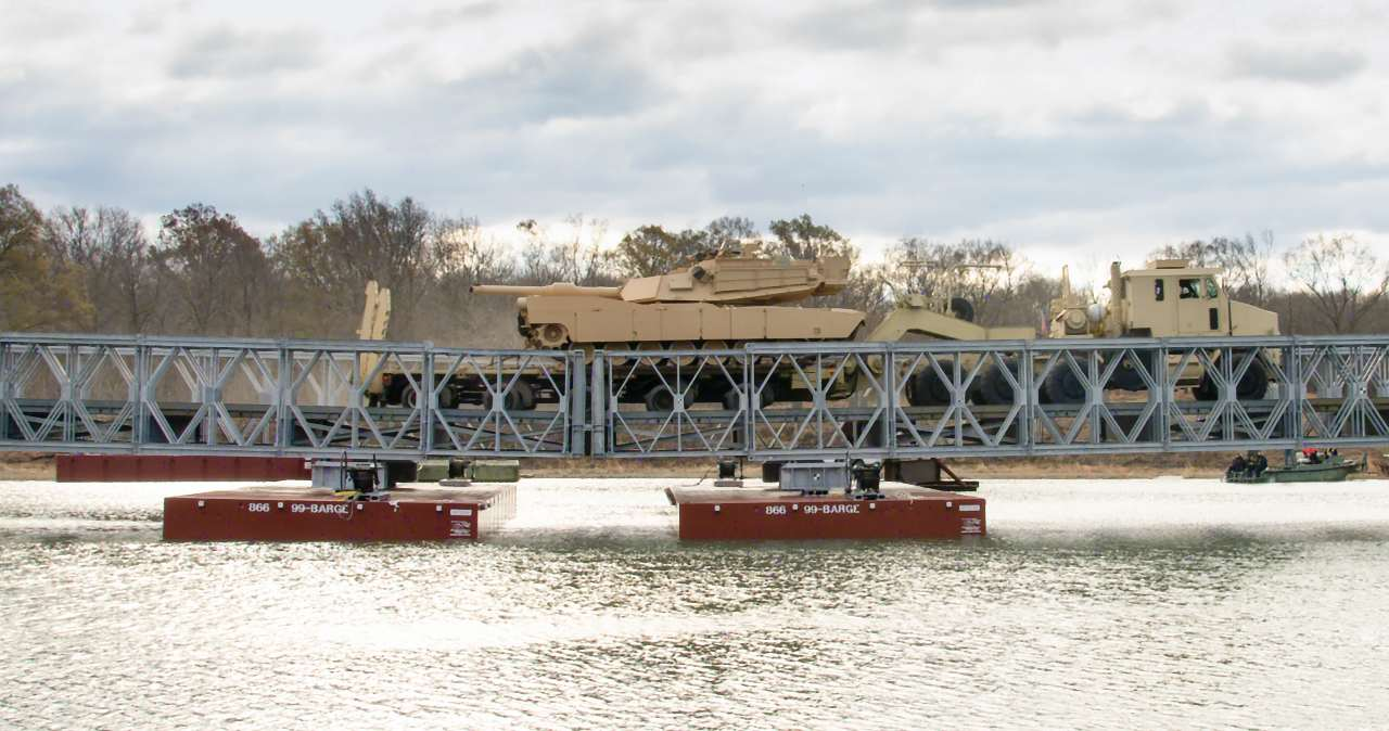 Photo: M1 Abrams traversing a wet gap bridge. Credit: Acrow Corporation of America