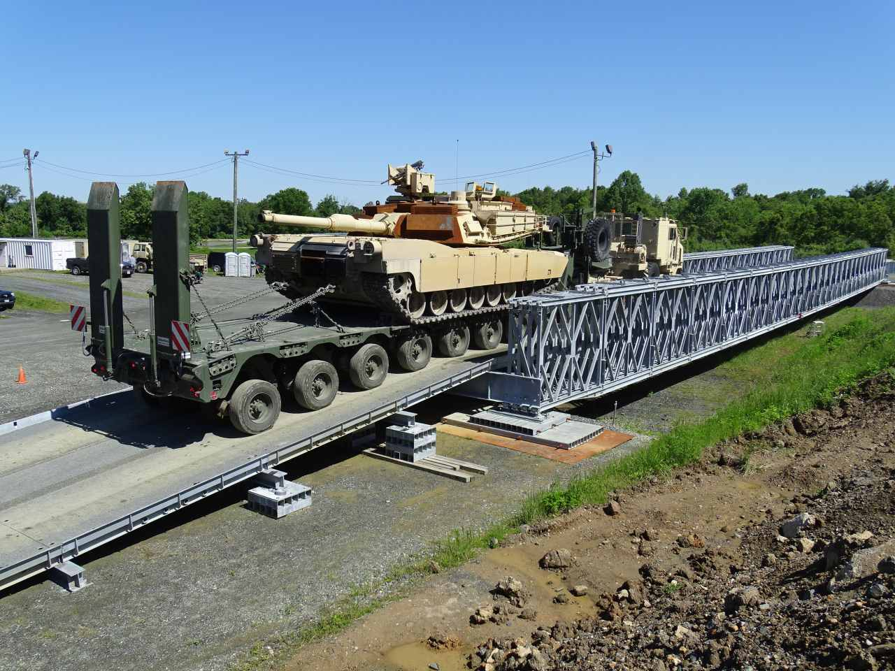 Photo: M1 Abrams crossing a dry gap bridge. Credit: Acrow Corporation of America