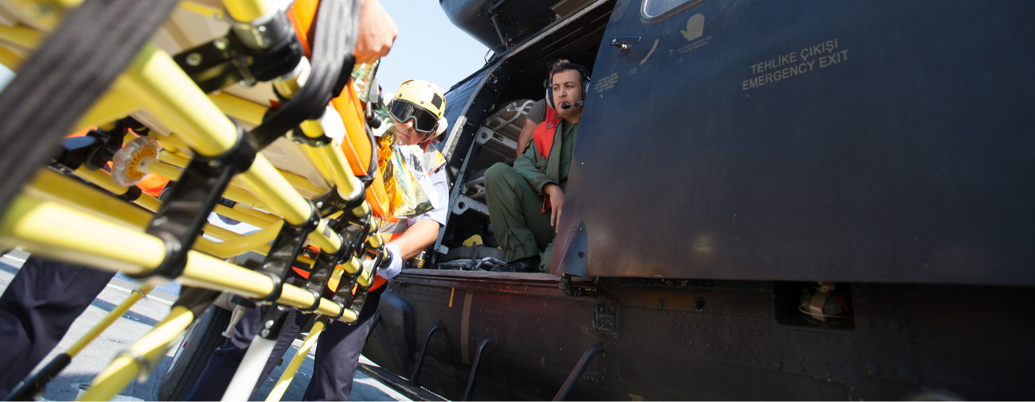 A Cougar Helicopter landing on the helicopter deck of Almedar Ship to evacuate a injured to Marmaris Hospital during Dynamic Monarch 17