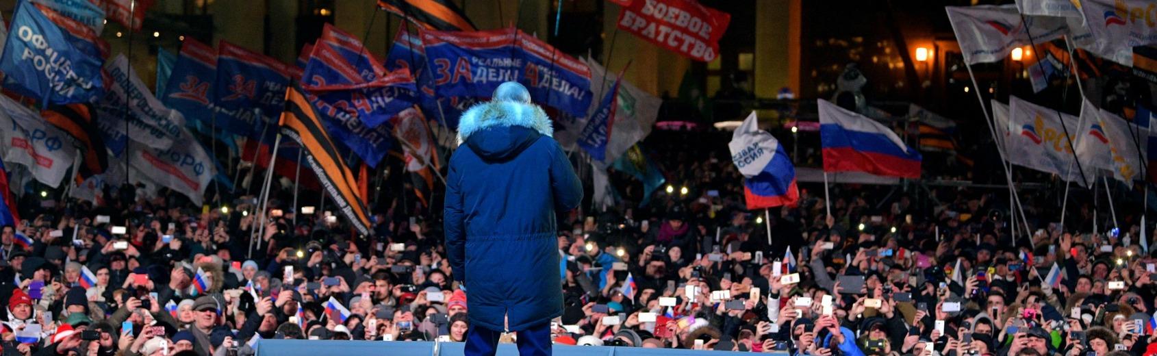 Vladimir Putin após vencer a eleição agradece a eleitores  na Praça Manezhnaya em Moscou . Foto Kremlin