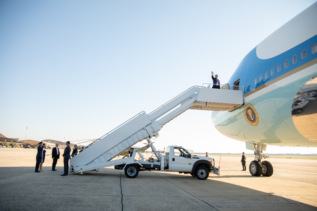 President Donald J. Trump and First Lady Melania Trump arrive at Joint Base Andrews Air Force Base Tuesday, July 10, 2018, in Maryland, and depart on Air Force One en route Brussels.  (Official White House Photo by Shealah Craighead)