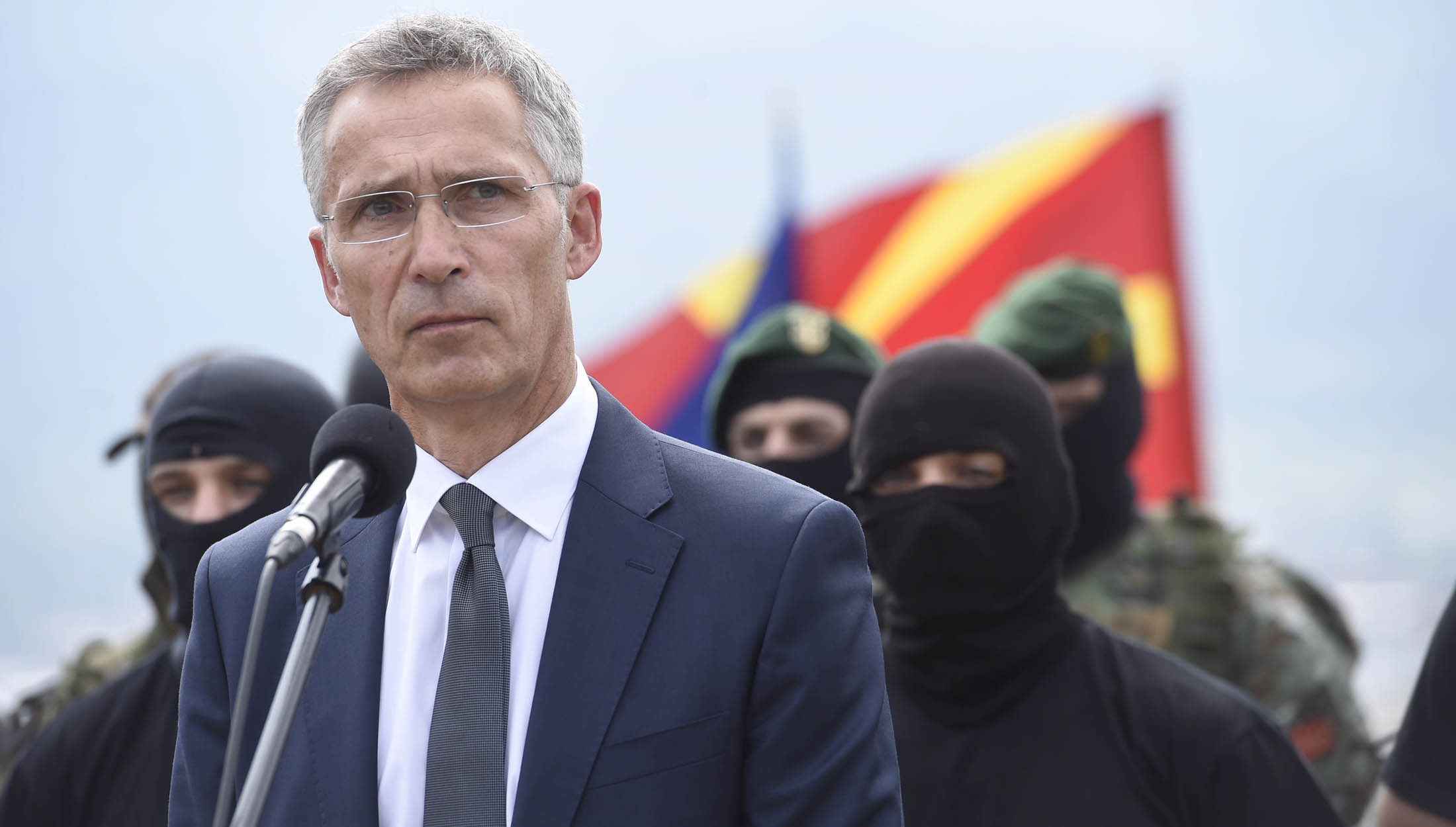 NATO Secretary General Jens Stoltenberg visits the Ilinden barracks and thanks the armed forces for their service and contributions to NATO deployments