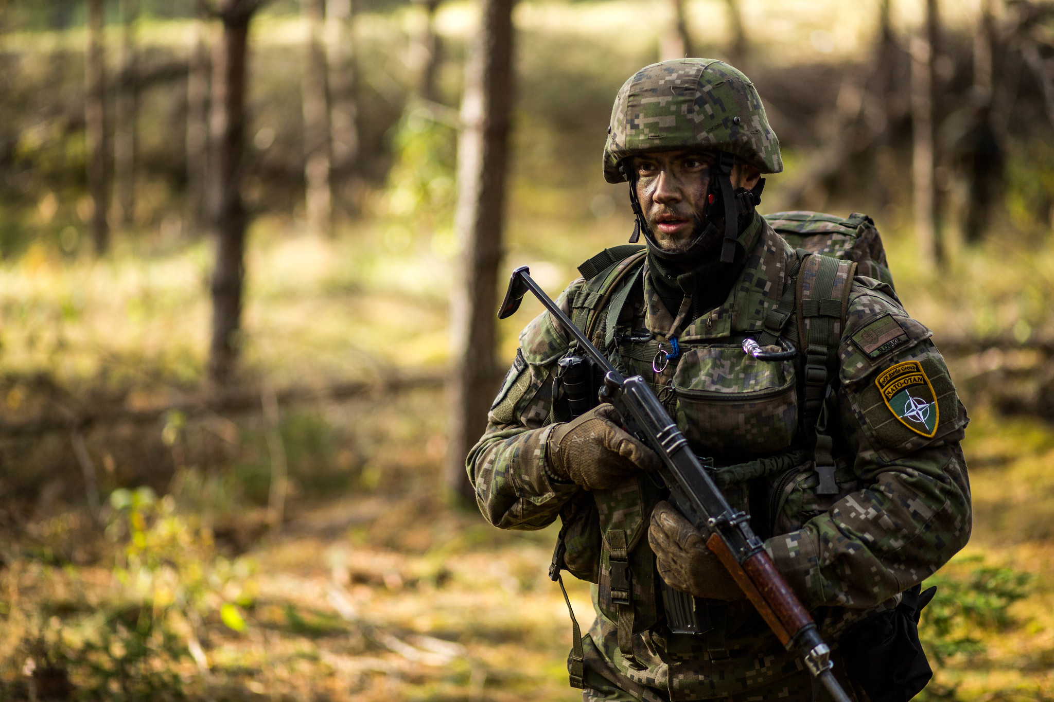 A Slovak soldier with Stefanik Company marches down a road in eastern Latvia. Stefanik Company, a mechanized infantry unit currently based in ?daži, Latvia, is Slovakia's first contribution to NATO's enhanced Forward Presence in Eastern Europe.