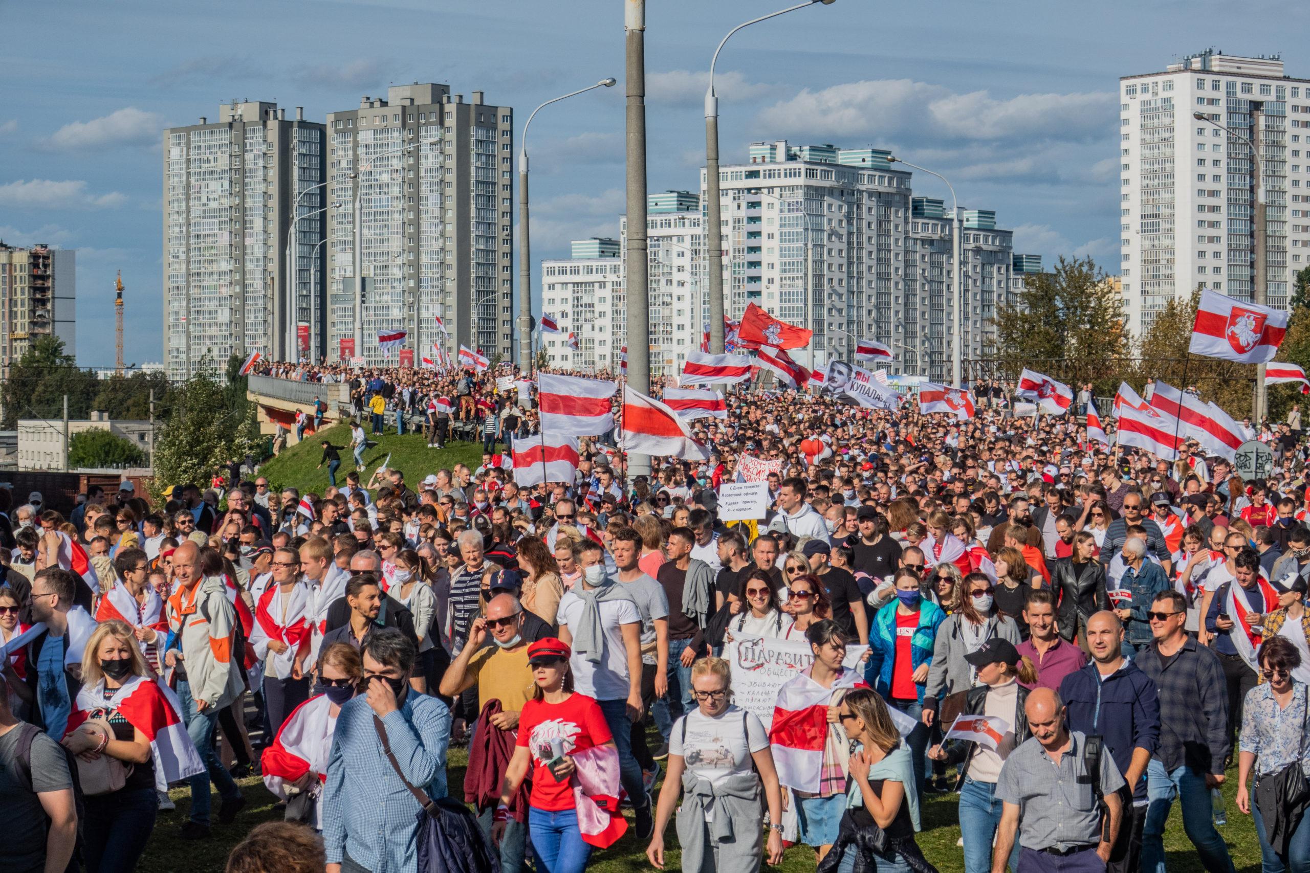 Protest rally against Lukashenko, 13 September 2020. Minsk, Belarus by Homoatroxunder CC3.0.