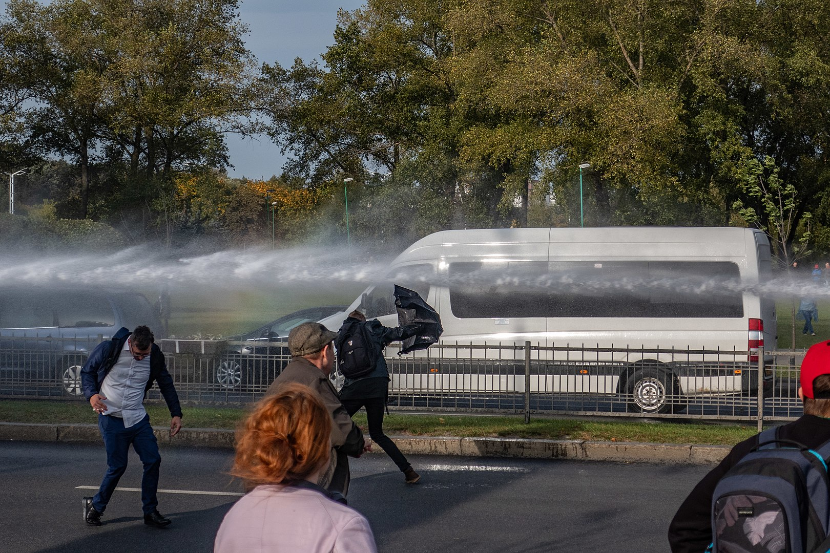 Photo: Use of water cannon during an anti-Lukashenko protest on October 4, 2020. Credit: Wikimedia Commons, Homoatrox