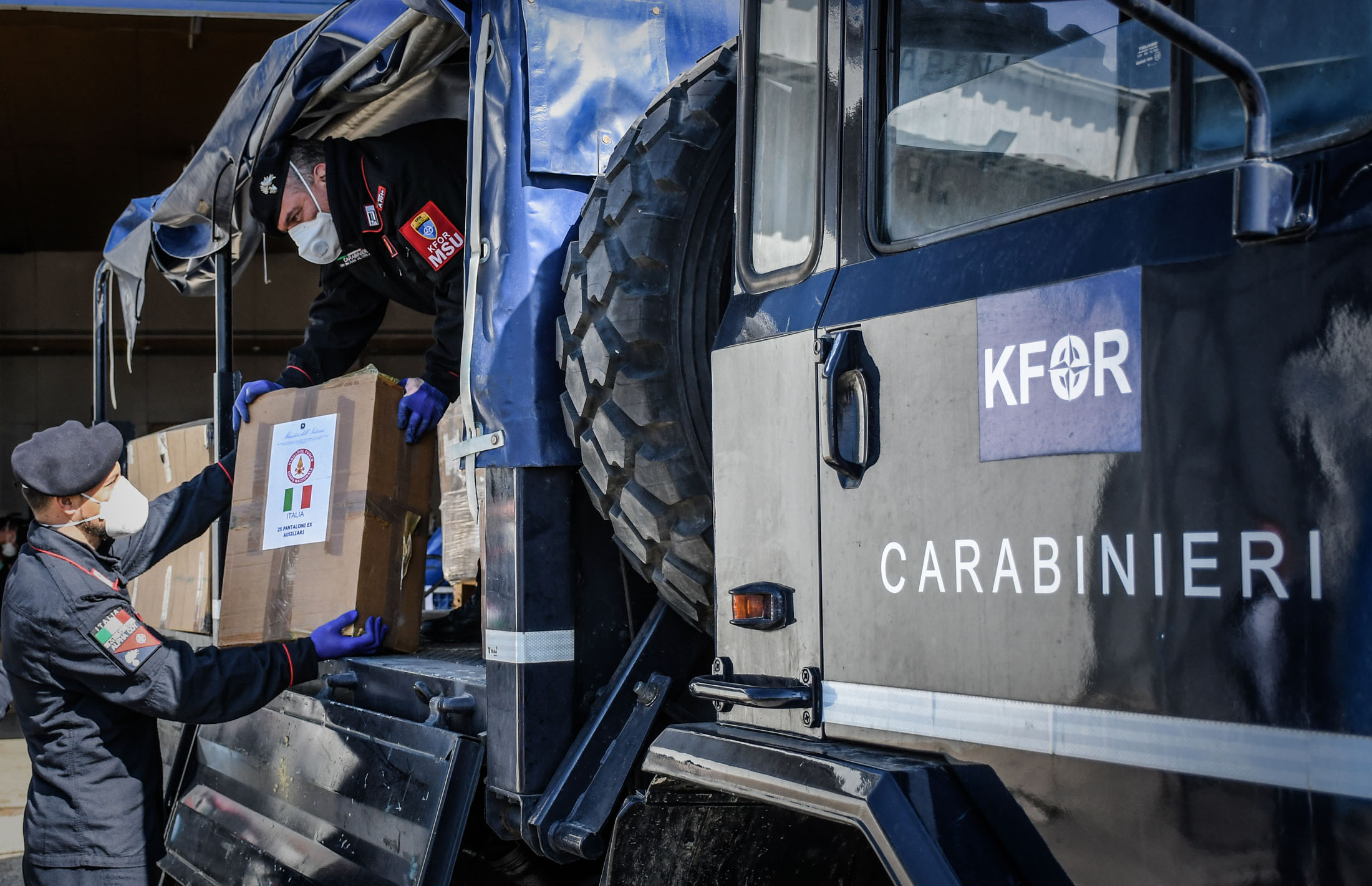 Photo: KFOR providing assistance to local communities in Kosovo to help fight he COVID-19 pandemic Credit: NATO