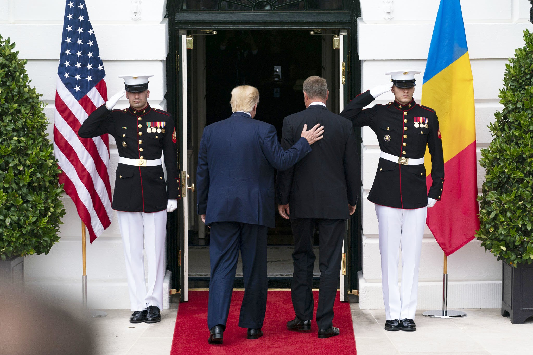 Photo: President Donald J. Trump welcomes Romanian President Klaus Iohannis Tuesday, Aug. 20, 2019, upon his arrival to the South Portico of the White House. Credit: Official White House Photo by Andrea Hanks.