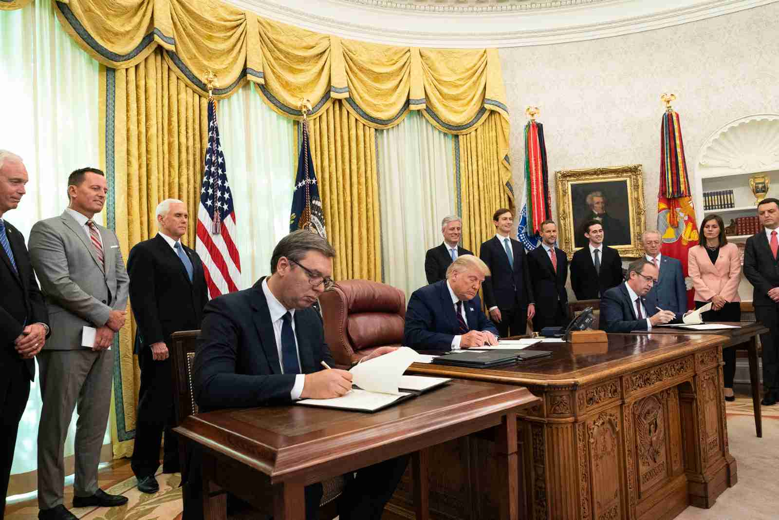 President Donald J. Trump, joined by Vice President Mike Pence, participates in a signing ceremony with Serbian President Aleksandar Vučić and Kosovo Prime Minister Avdullah Hoti Friday, Sept. 4, 2020, in the Oval Office of the White House. (Official White House Photo by D. Myles Cullen)