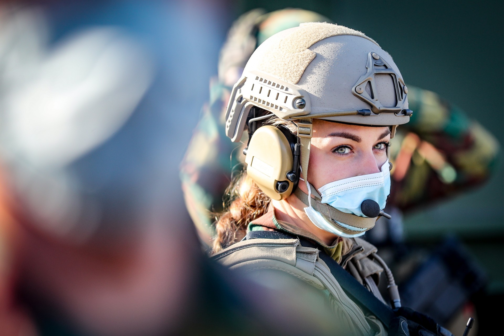 Photo: A female soldier ahead of a visit of the Belgian King to the medical component of Belgian defence in Marche-en-Famenne, Tuesday 22 September 2020. Credit: BELGA PHOTO BRUNO FAHY.