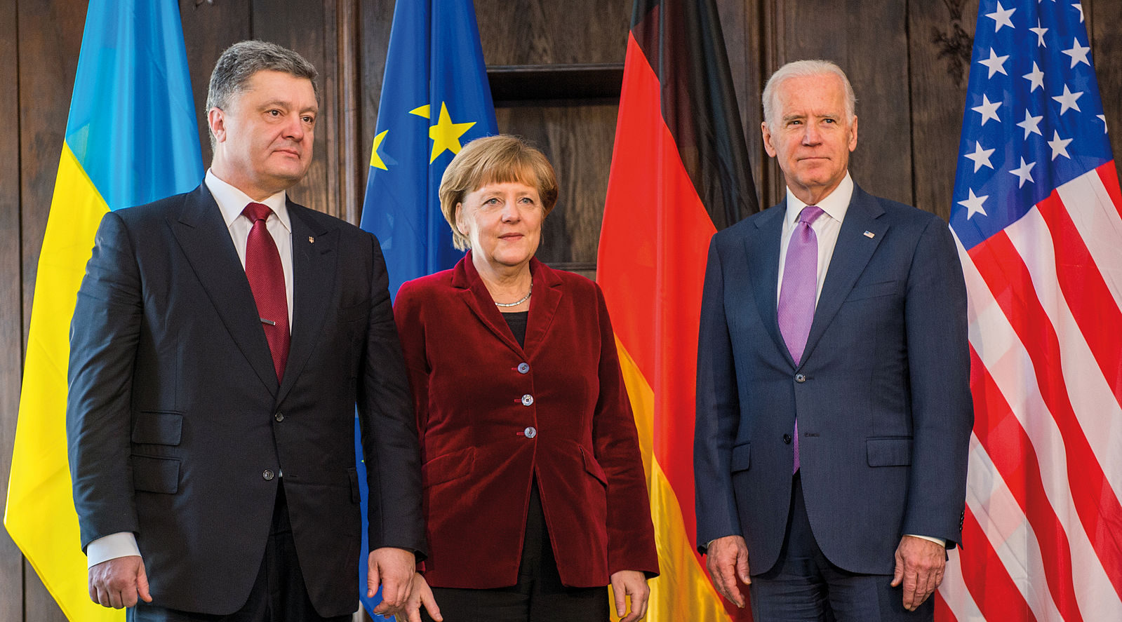 Photo: 51st Munich Security Conference 2015: Petro Poroshenko (Left to right: Former President, Ukraine), Dr. Angela Merkel (Federal Chancellor, Federal Republic of Germany), Joseph R. Biden Jr. (Former Vice President, United States of America) Credit: Munich Security Conference.