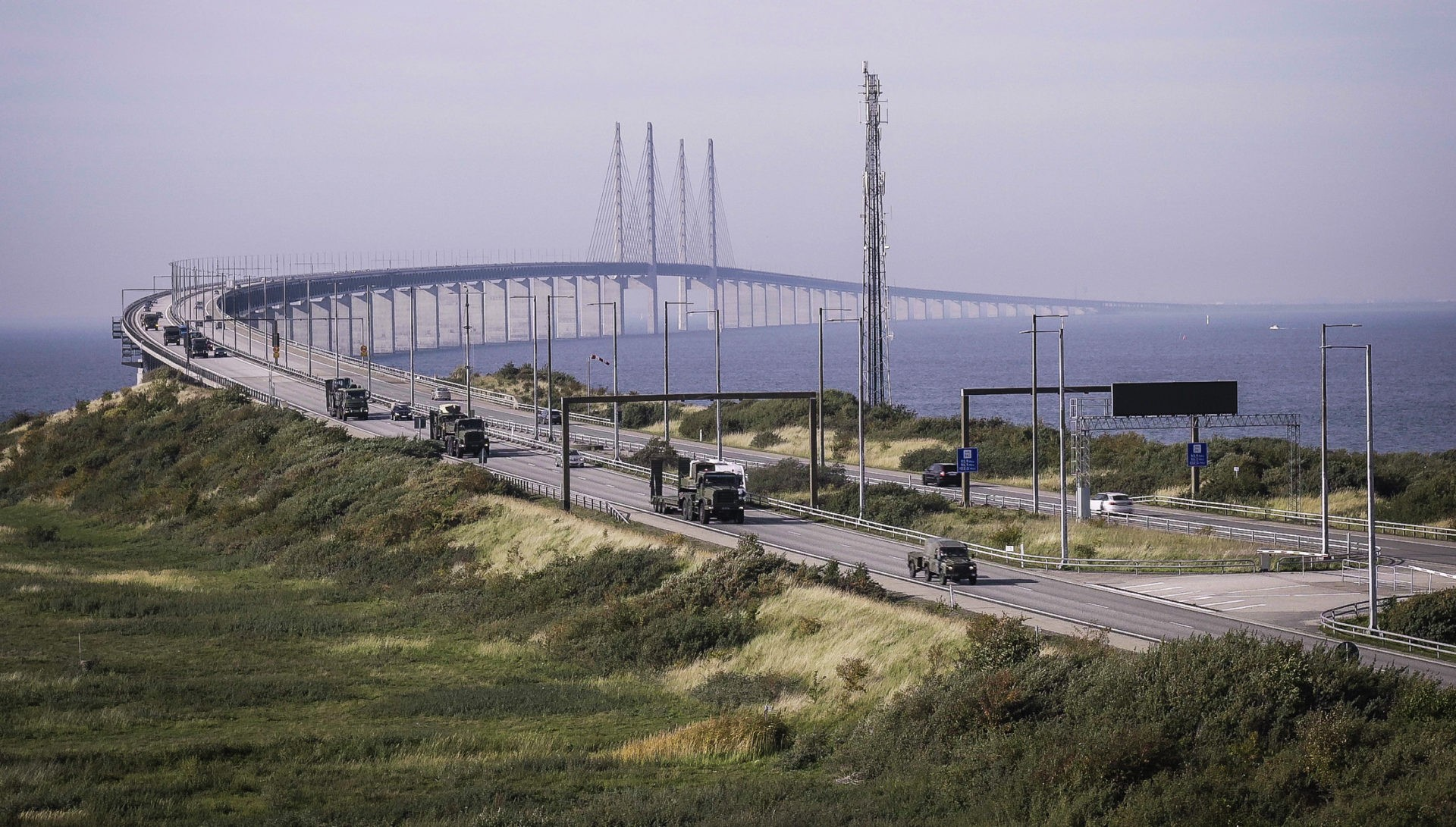 British Army convoy arrives in Malmö, Sweden after crossing the Oresund Bridge. In October 2018, a convoy of 71 military vehicles including Foxhound, Husky, Land Rover and variants of MAN trucks, together with troops from the 1st Battalion, Royal Irish Regiment, 32 Regiment Royal Artillery and 1st Battalion Lancashire Regiment of the British Army crossed the famous Oresund Bridge, which connects Denmark and Sweden. The bridge-crossing was part of their 2,000-km journey from the Hook of Holland to Norway, where they will participate in exercise Trident Juncture 18.