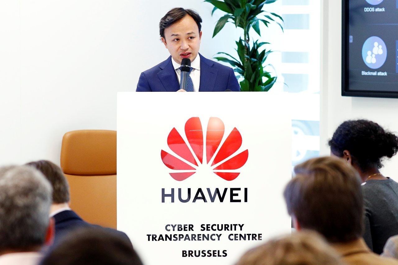Abraham Liu, Huawei Chief Representative to the EU Institutions and Vice-President European Region speaks at a news conference at the Huawei European Cybersecurity Center in Brussels, Belgium, May 21, 2019