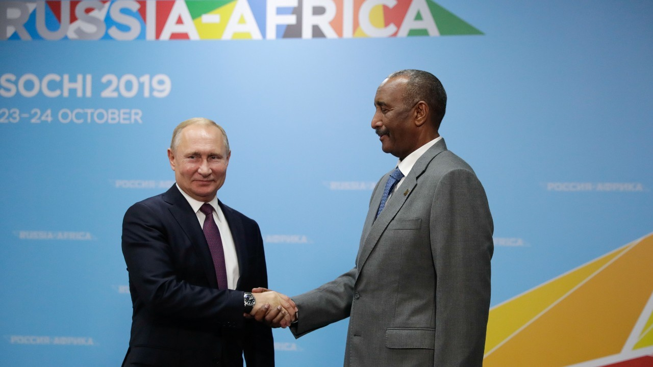 Photo: Russia's President Vladimir Putin shakes hands with head of Sudan's transitional sovereign council Abdel Fattah al-Burhan during a meeting on the sidelines of the Russia–Africa Summit in Sochi, Russia October 23, 2019. Credit: Sputnik/Mikhail Metzel/Kremlin via REUTERS