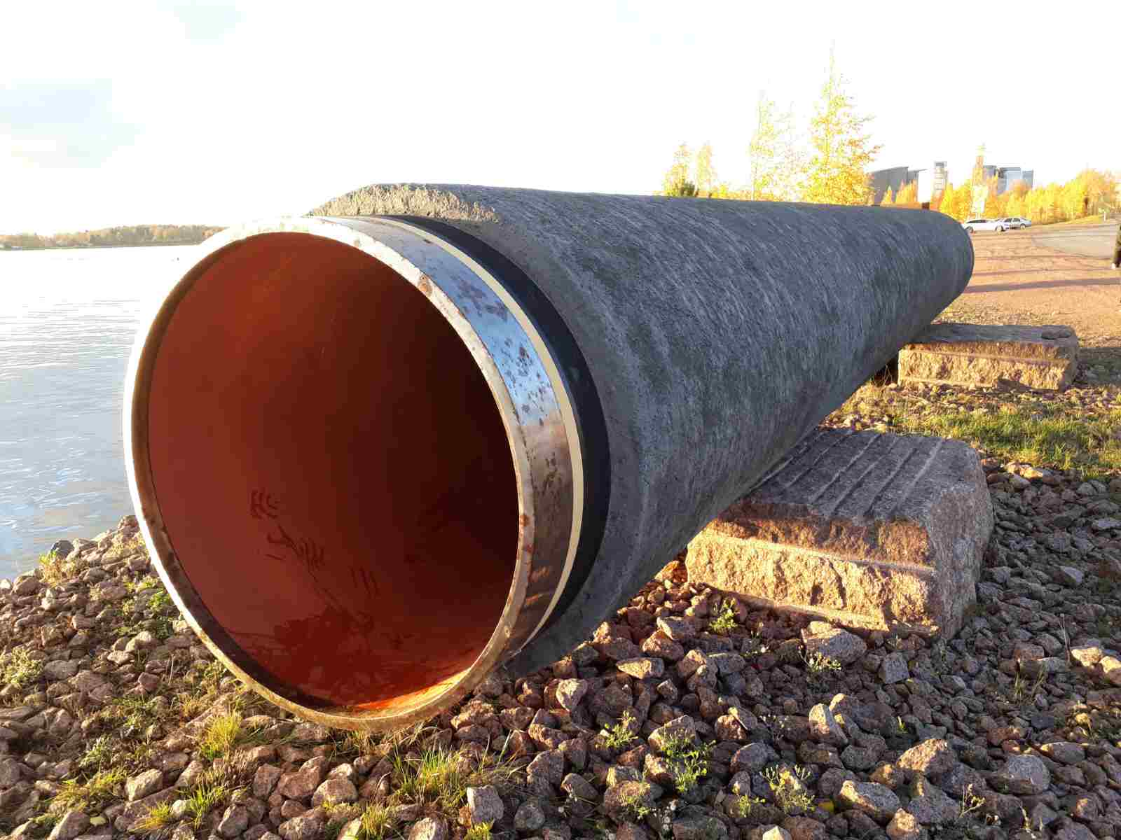 A piece of Nord Stream pipe on public display in Kotka, Finland. 21 October 2017