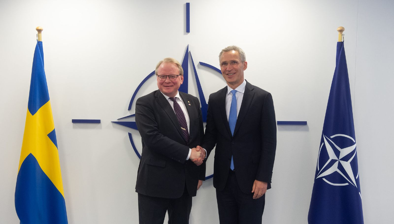 Left to right: Peter Hultqvist (Minister of Defence, Sweden) with NATO Secretary General Jens Stoltenberg