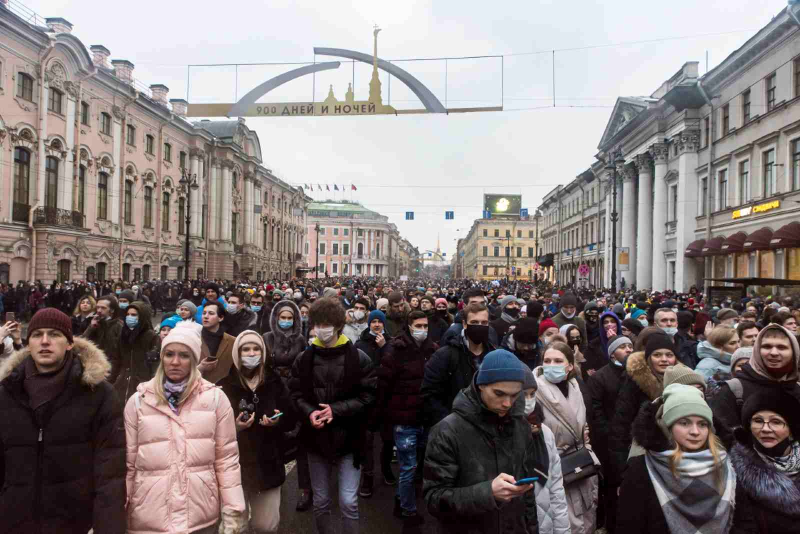 Procession in support of Alexei Navalny. St. Petersburg, Nevsky prospect. January 24, 2021