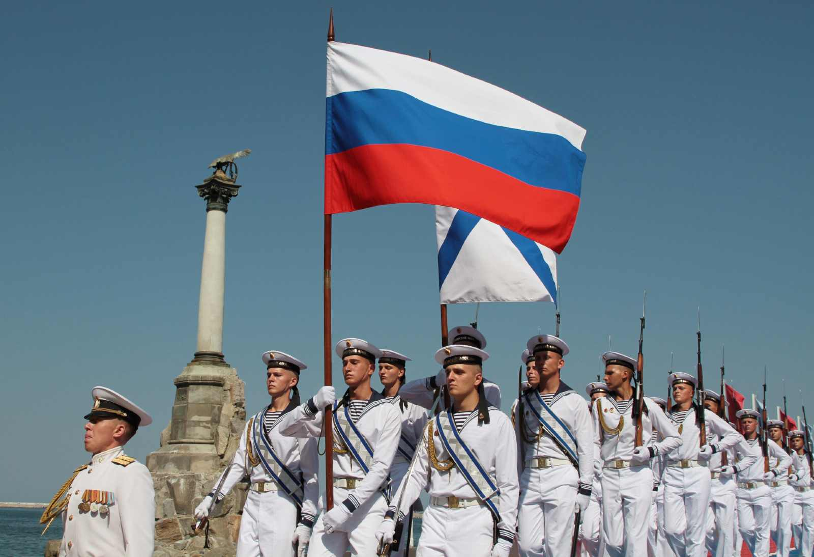 Russian sailors march during the Navy Day parade in the Black Sea port of Sevastopol, Crimea July 28, 2019. REUTERS/Alexey Pavlishak