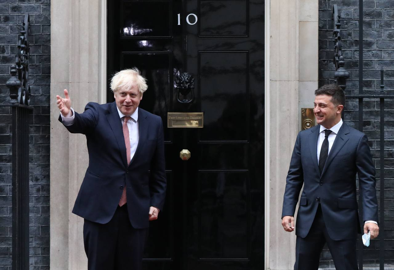 "Prime Minister Boris Johnson (left) welcomes the President of Ukraine, Volodymyr Zelenskyy, to Downing Street , London, ahead of a meeting to sign a strategic partnership deal with the president in the face of Russia's ""destabilising behaviour"" towards the country. PA via REUTERS"