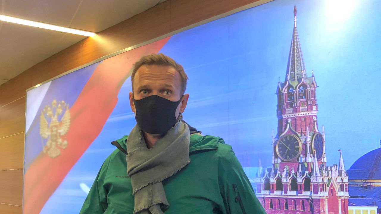 Photo: Russian opposition leader Alexei Navalny speaks with journalists upon the arrival at Sheremetyevo airport in Moscow, Russia January 17, 2021. Credit: REUTERS/Polina Ivanova