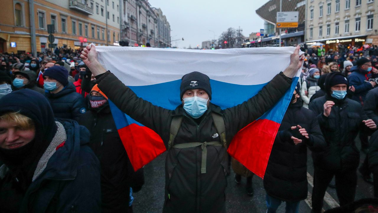 Photo: MOSCOW, RUSSIA - JANUARY 23, 2021: People take part in an unauthorized rally in support of Russian opposition activist Alexei Navalny in Tverskaya Street. Credit: Sergei Bobylev/TASS via Reuters