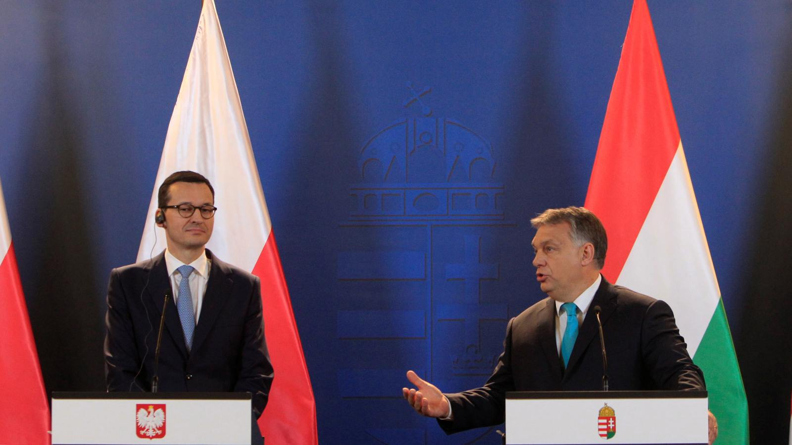 Polish Prime Minister Mateusz Morawiecki and Hungarian Prime Minister Viktor Orban hold a joint news conference in Budapest, Hungary January 3, 2018. REUTERS/Bernadett Szabo