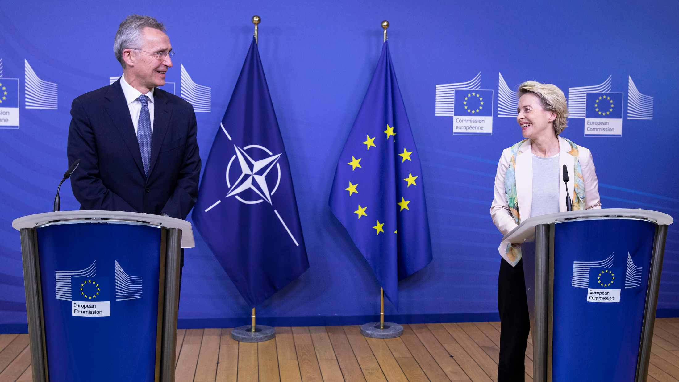Joint press statements by NATO Secretary General Jens Stoltenberg and the President of European Commission, Ursula von der Leyen ahead of a meeting with the College of Commissioners. December 15, 2020. Credit: NATO.