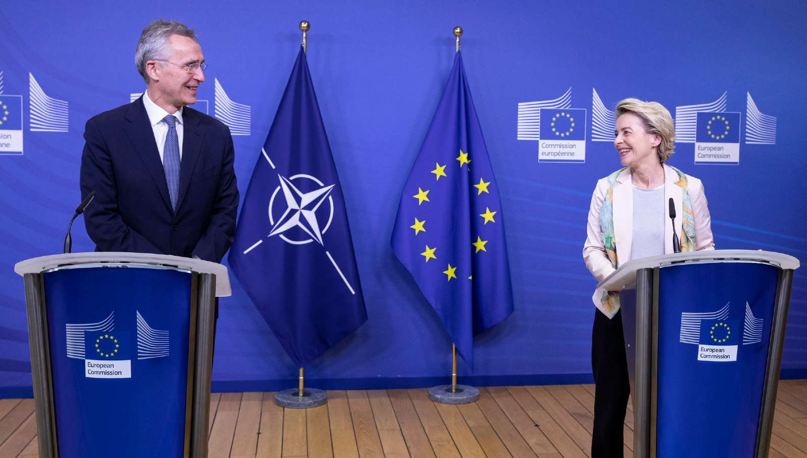 Joint press statements by NATO Secretary General Jens Stoltenberg and the President of the European Commission, Ursula von der Leyen ahead of the meeting with the members of the College of Commissioners