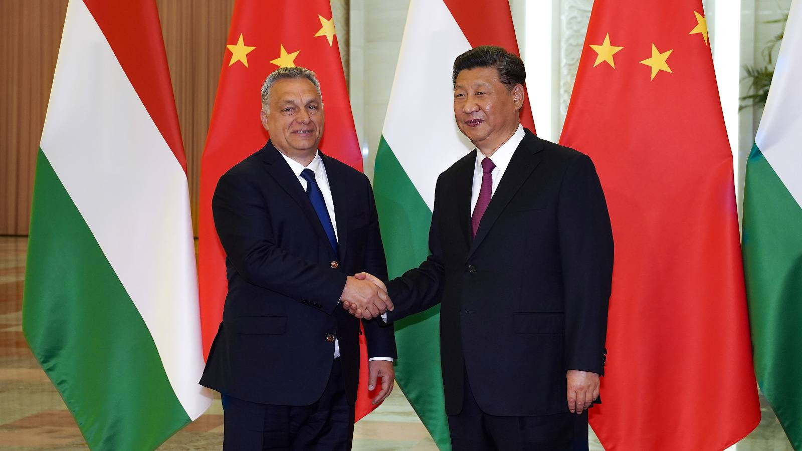 Chinese President Xi Jinping shakes hands with Hungarian Prime Minister Viktor Orban before the bilateral meeting of the Second Belt and Road Forum at the Great Hall of the People, in Beijing, China April 25, 2019.