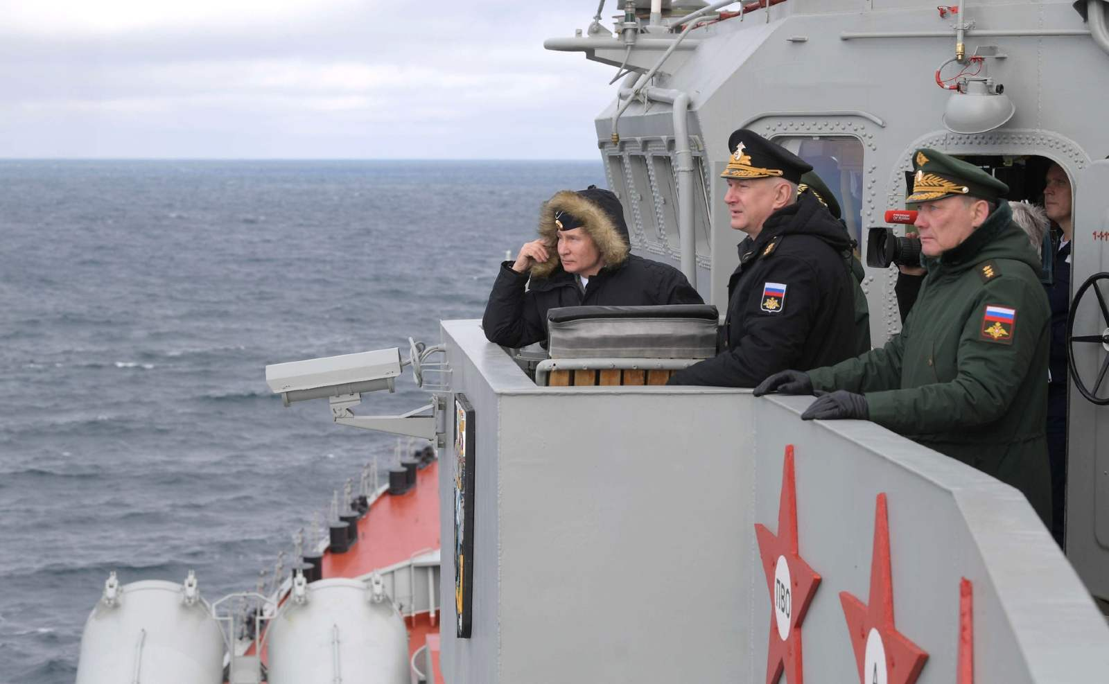 Joint exercises of the Northern and Black Sea fleets. With Commander-in-Chief of the Navy Nikolai Yevmenov, centre, and Commander of the Southern Military District Forces Alexander Dvornikov.