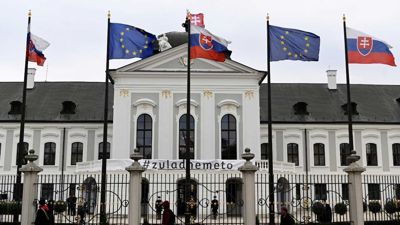 Photo: A general view of the Slovak Presidential Palace ahead of the cabinet's inauguration, in Bratislava, Slovakia, March 21, 2020. Credit: REUTERS/Radovan Stoklasa