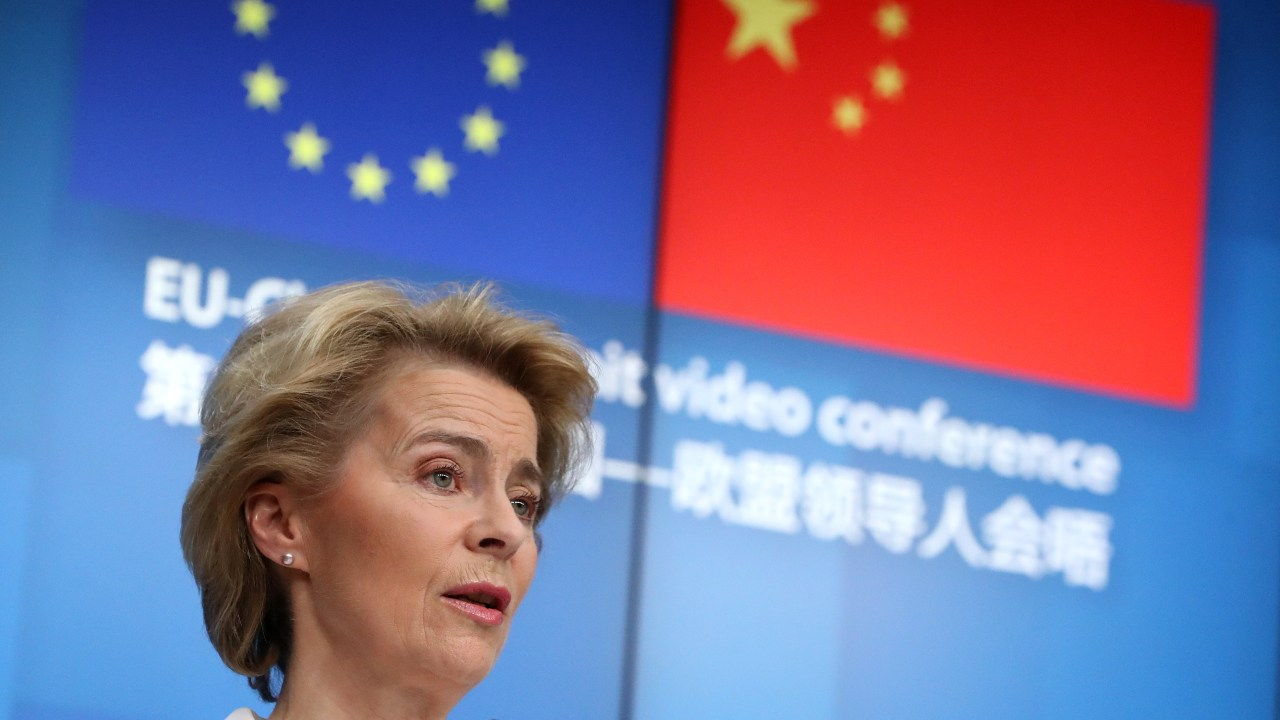 European Commission President Ursula von der Leyen and European Council President Charles Michel (not pictured) attend a news conference following a virtual summit with Chinese President Xi Jinping in Brussels, Belgium June 22, 2020. REUTERS/Yves Herman/Pool