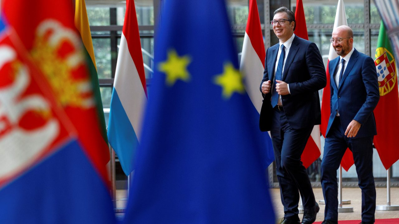 Photo: European Council President Charles Michel (right) walks with Serbian President Aleksandar Vucic (left) prior to a meeting at the European Council building in Brussels, Belgium, June 26, 2020. Credit: Olivier Matthys/Pool via REUTERS