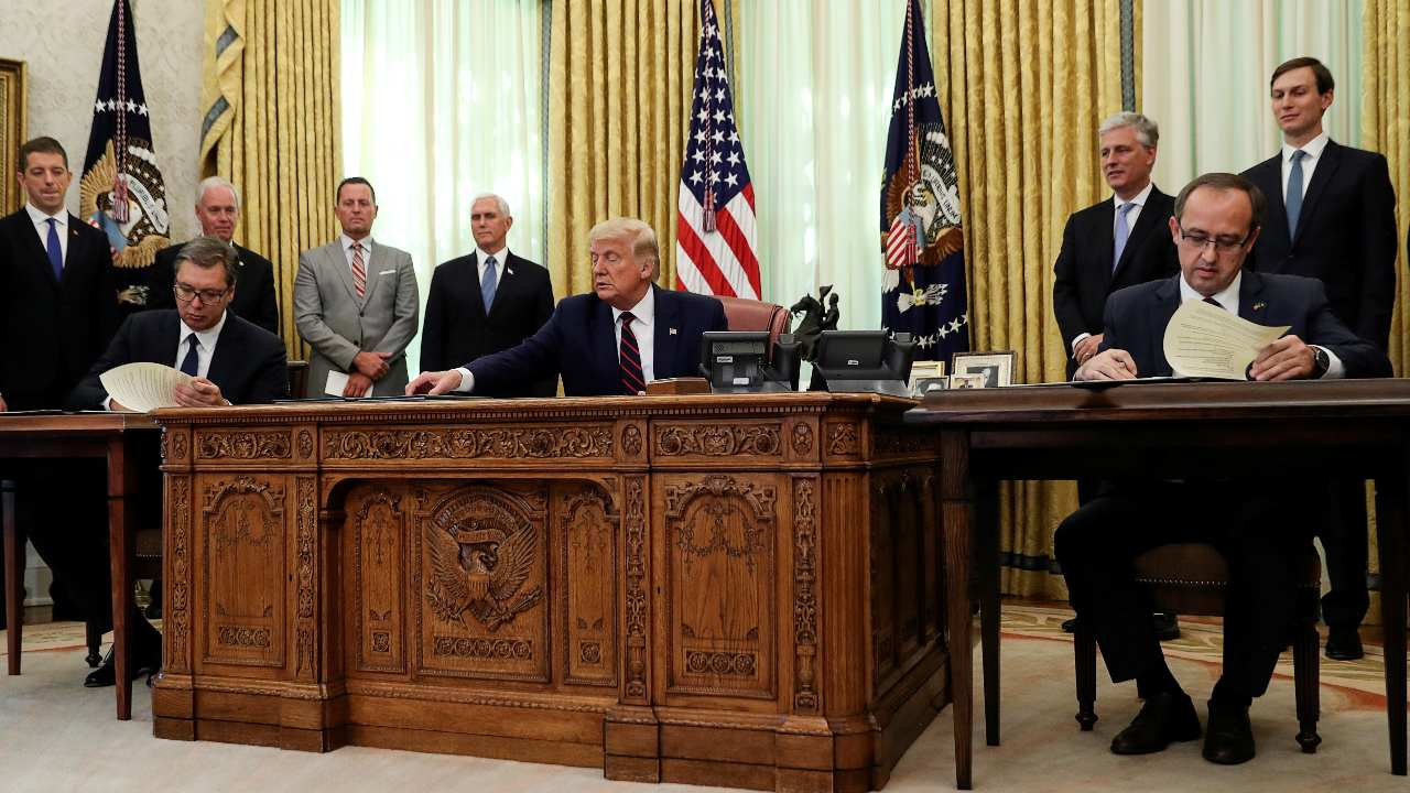 Photo: U.S. President Donald Trump speaks hosts a signing ceremony with Serbia's President Aleksandar Vucic and Kosovo's Prime Minister Avdullah Hoti at the White House in Washington, U.S., September 4, 2020. Credit: REUTERS/Leah Millis