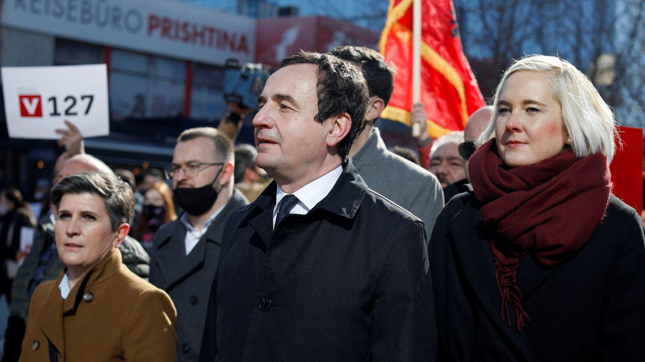 Photo: Albin Kurti (left), leader of Vetevendosje (Self-determination) party, attends a final campaign rally in Pristina, Kosovo February 12, 2021. Credit:  REUTERS/Florion Goga