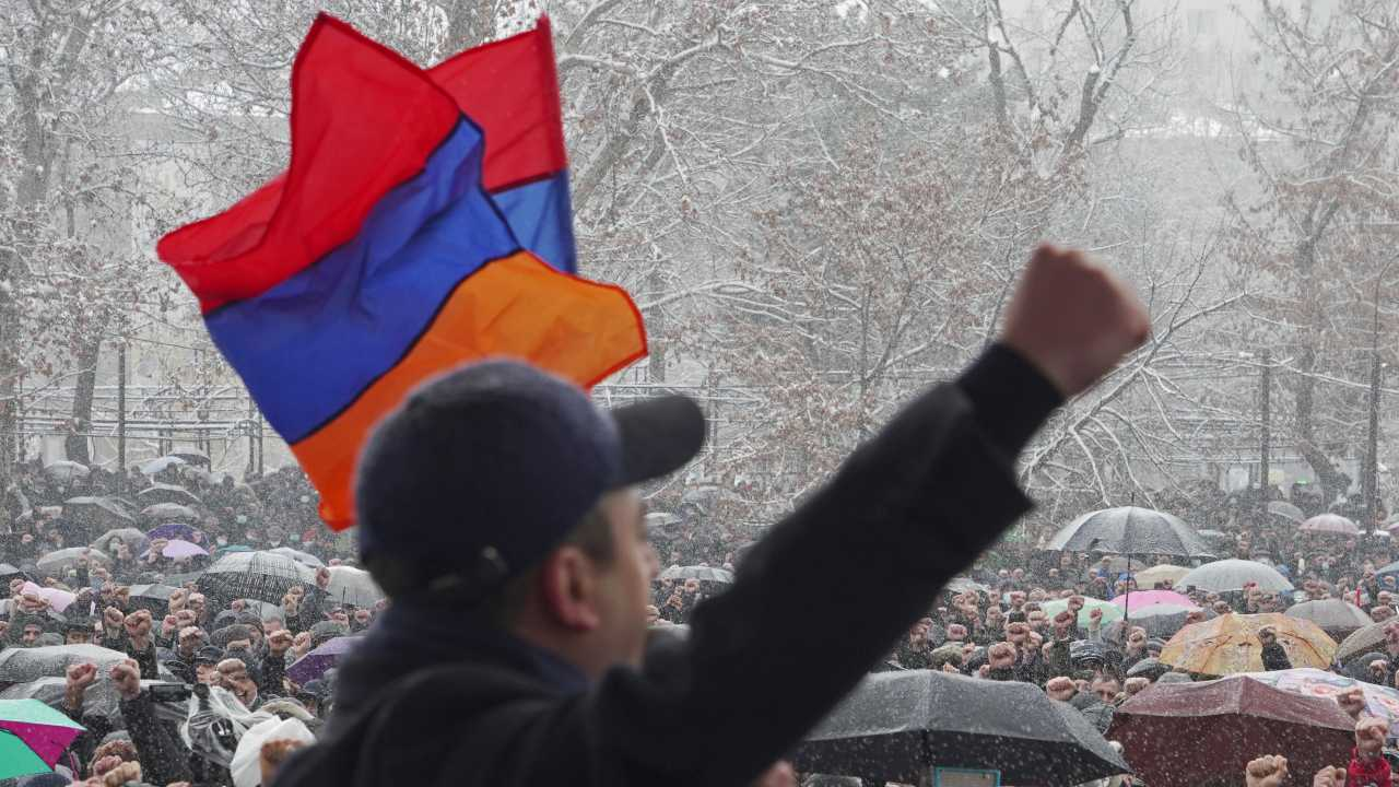 Photo: People attend an opposition rally to demand the resignation of Prime Minister Nikol Pashinyan in Yerevan, Armenia February 20, 2021. Credit: REUTERS/Artem Mikryukov