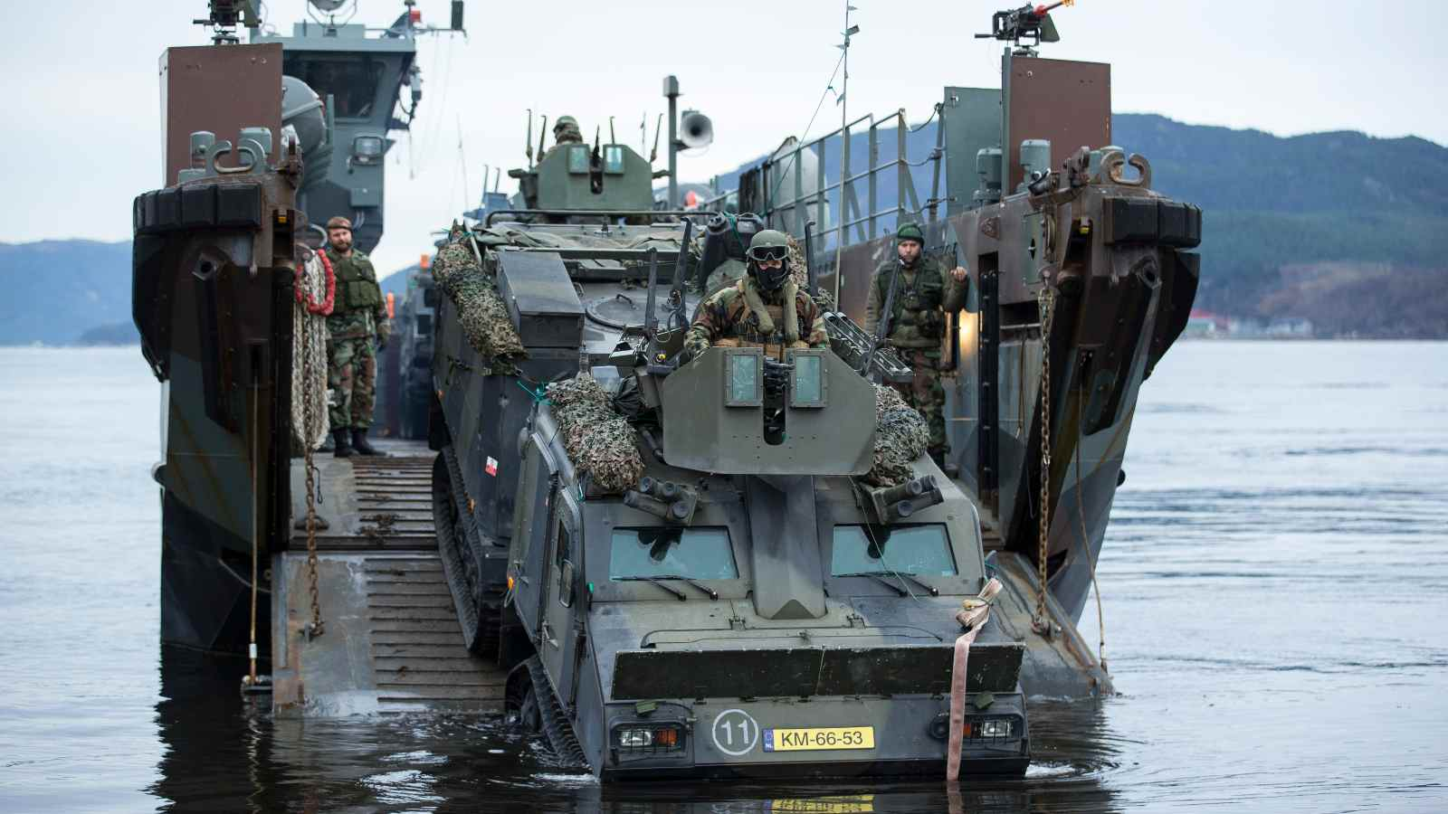 Dutch marines landing. Kyrksaeterora, Norway. Trident Juncture 2018.     Trident Juncture 2018 is NATO's largest exercise in many years, bringing together around 50,000 personnel from all 29 Allies, plus partners Finland and Sweden. Around 65 vessels, 150 aircraft and 10,000 vehicles will participate.     Photo: Ilari Välimäki, Finnish Defence Forces, Combat Camera