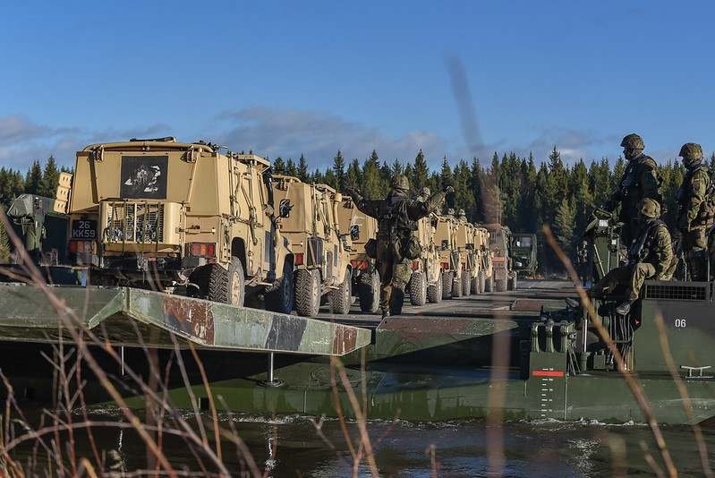 Photo: The Very High Readiness Joint Task Force, consisting of 9 nations, trains a river crossing near Rena, Norway. They will be on stand-by for the NATO Response Force 2019. They are joined by the British 4th Infantry Brigade. During Exercise Trident Juncture 2018 in Norway they certify themselves for this task. Credit: NATO