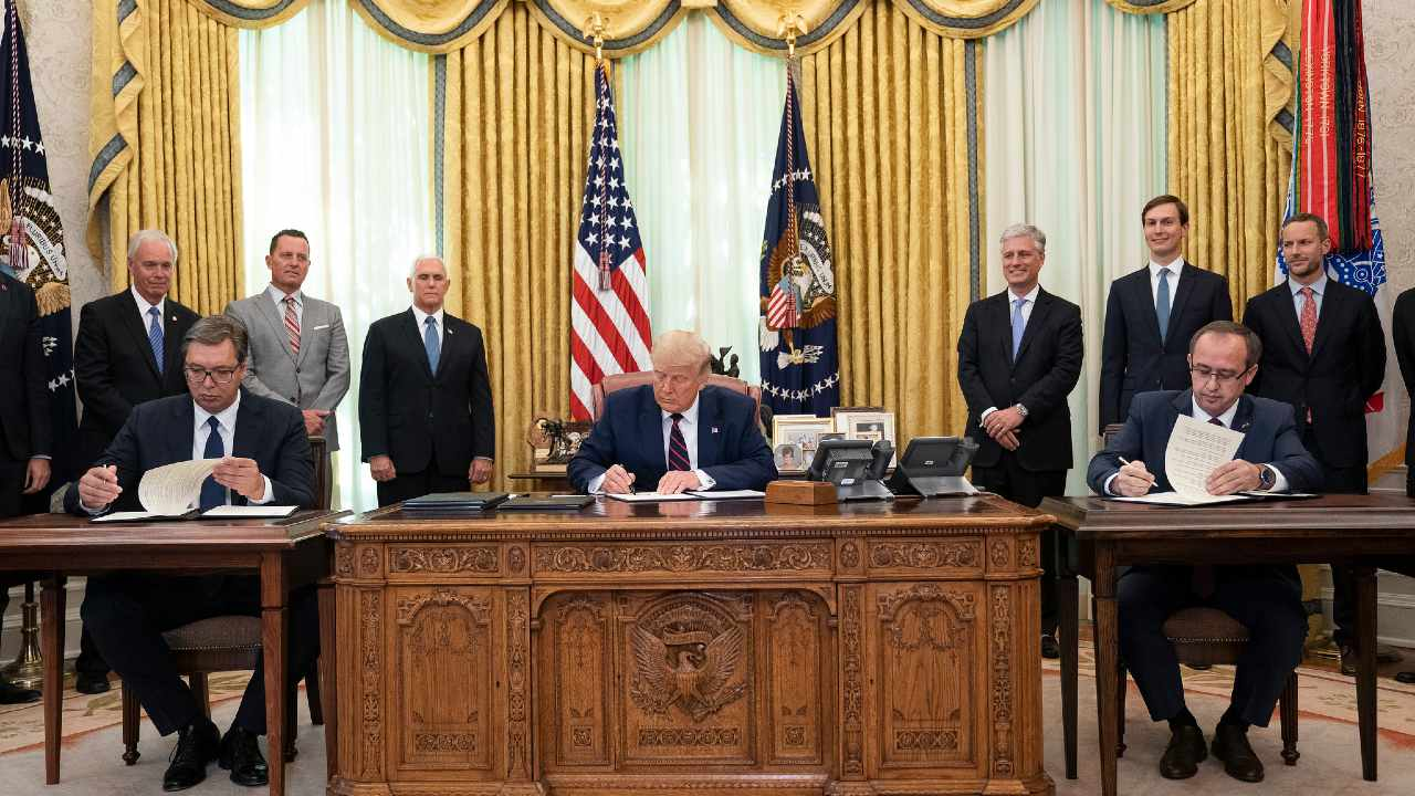 Photo: President Donald J. Trump participates in a signing ceremony with Serbian President Aleksandar Vučić and Kosovo Prime Minister Avdullah Hoti Friday, Sept. 4, 2020, in the Oval Office of the White House. Credit: Joyce N. Boghosian, White House