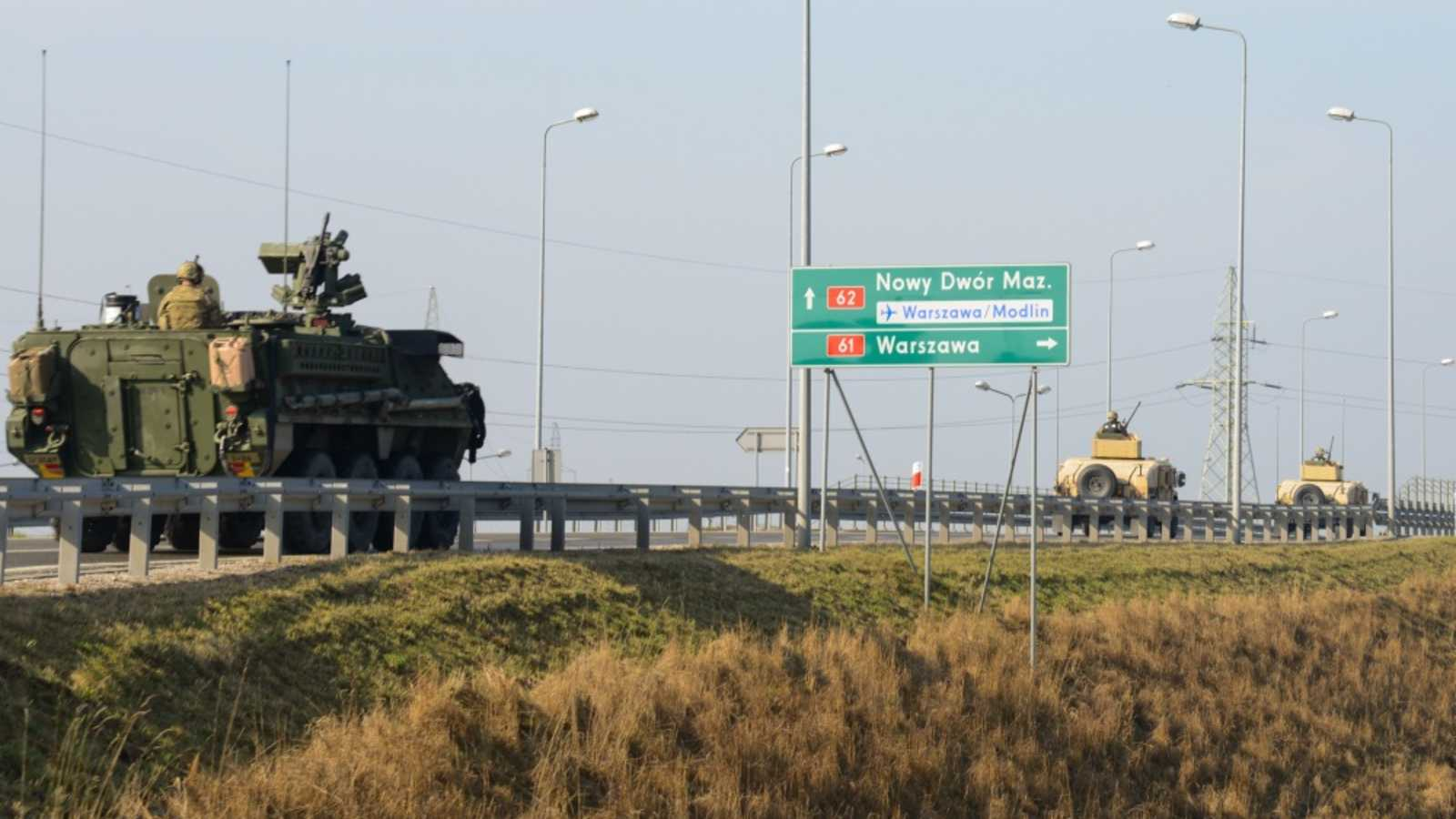 U.S. Army Stryker armored vehicles assigned to Iron Troop, 3rd Squadron, 2nd Cavalry Regiment, travel through the Poland country during the Dragoon Ride, March 27, 2015. The Dragoon Ride is exercising NATO's freedom of movement and will cover more than 1,800 kilometers from Estonia to Vilseck, Germany, home of 3rd Squadron, 2nd Cavalry Regiment, in support of Atlantic Resolve. (U.S. Army photo by Pfc. Nathanael Mercado / Released)