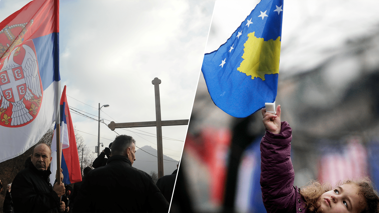 Left: People protest after Kosovo's decision to raise customs tariffs on Serbian and Bosnian goods, in the village of Rudare near Mitrovica, Kosovo, November 23, 2018. Credit: REUTERS/Laura Hasani Right: An ethnic Albanian girl holds the Kosovo flag during celebrations for the second anniversary of Kosovo's declaration of independence from Serbia, in Pristina February 17, 2010. Credit: REUTERS/Hazir Reka