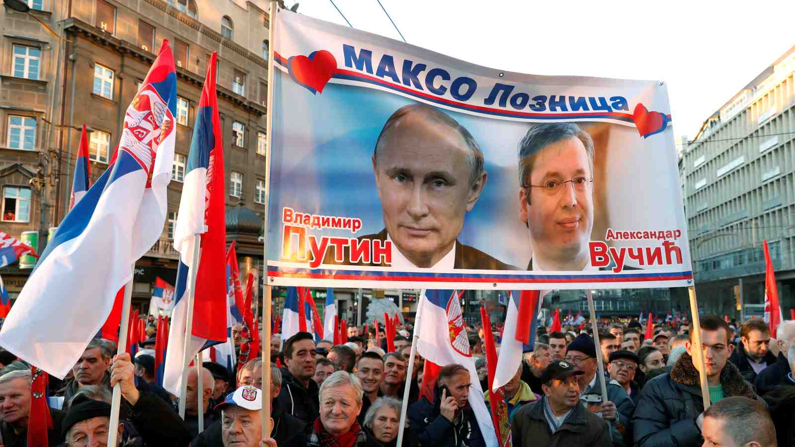 Photo: Supporters of Serbian President Aleksandar Vucic and Russian President Vladimir Putin walk towards St Sava temple in Belgrade, Serbia, January 17, 2019. Credit: REUTERS/Bernadett Szabo.