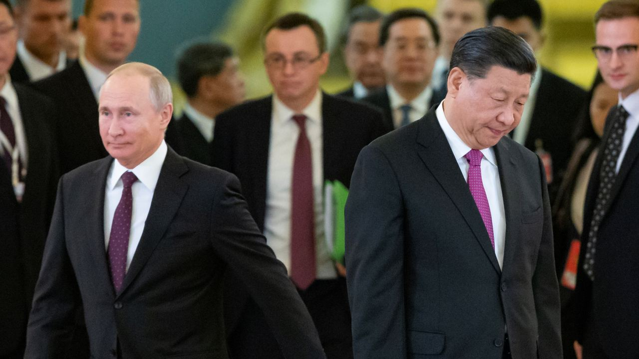 Photo: Russian President Vladimir Putin and Chinese President Xi Jinping walk during their meeting at the Kremlin in Moscow, Russia June 5, 2019. Credit: Alexander Zemlianichenko/Pool via REUTERS