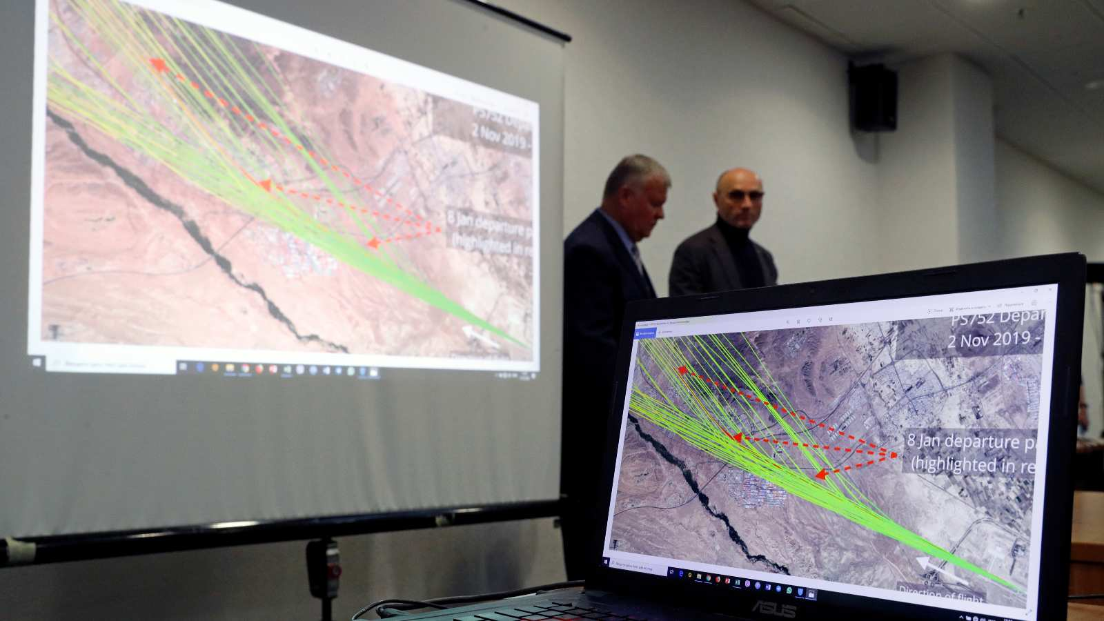 Photo: A map of flight PS-752's departure paths is seen on a computer screen at a news briefing about the crash of the Boeing 737-800 plane, flight PS-752, on the outskirts of Tehran, at the Boryspil International Airport, outside Kiev, Ukraine January 11, 2020. Credit: REUTERS/Valentyn Ogirenko