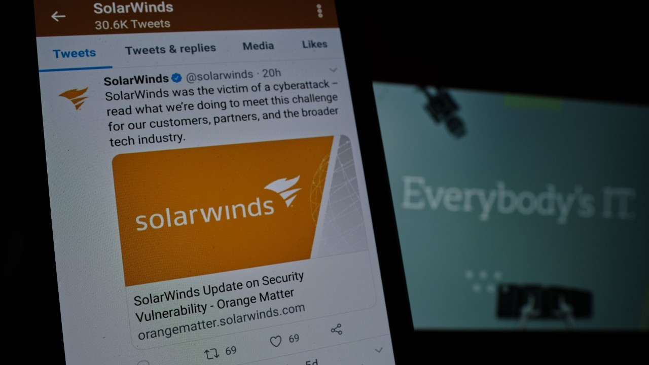 Photo: A SolarWinds logo is displayed on a post from the company as seen on a phone in Portland, Ore., on December 19, 2020, providing security information after a highly sophisticated cyber attack inserted a vulnerability in their Orion Platform products distributed via malware hidden in software updates to 18,000 customers including US government agencies and Fortune 500 companies. The attack was identified last week by cybersecurity firm FireEye who had a number of their hacking tools stolen during a likely state-sponsored espionage attempt. Credit: Alex Milan Tracy/Sipa USA via REUTERS