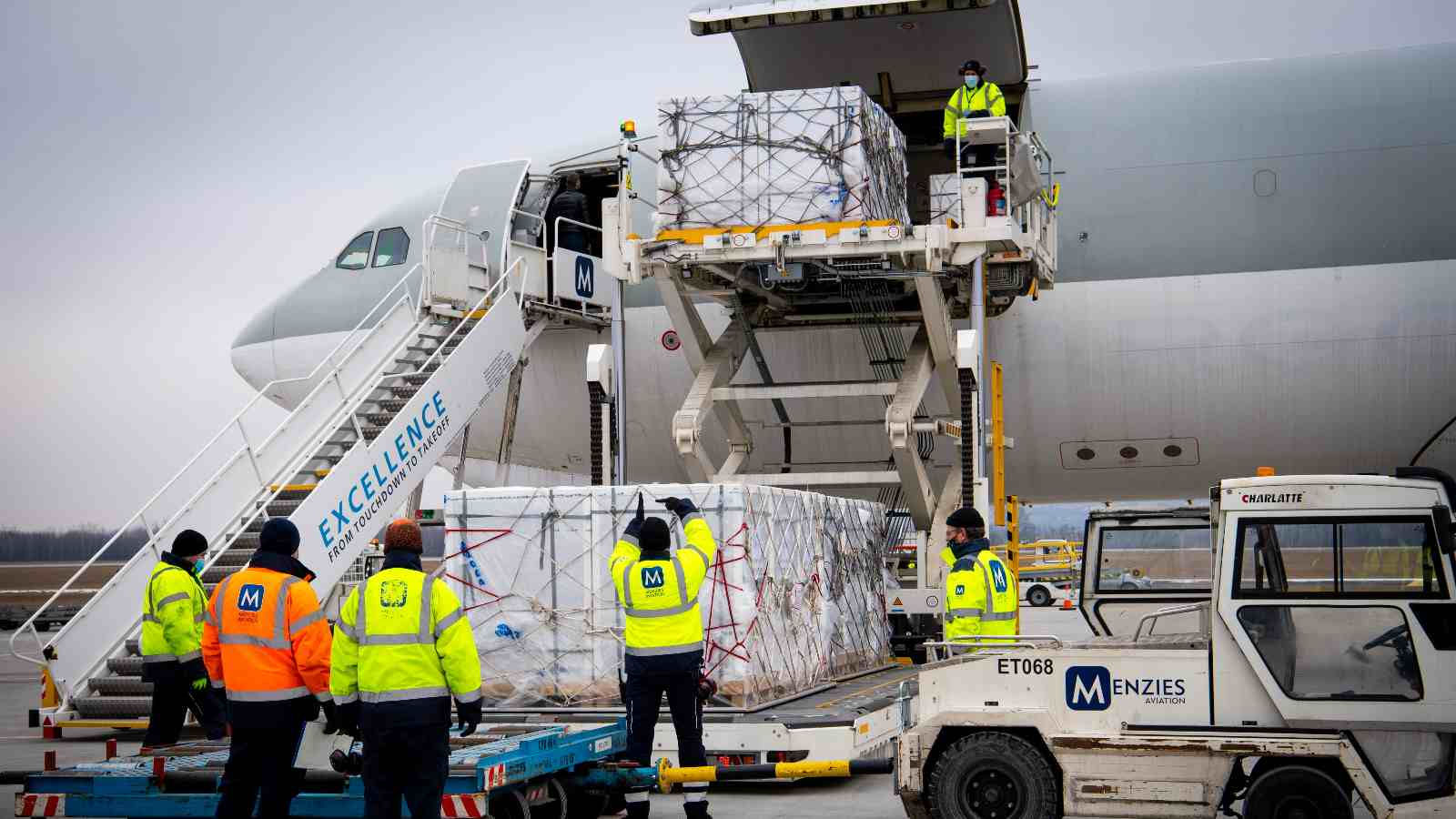 Photo: Workers unload a shipment of Chinese Sinopharm's coronavirus disease (COVID-19) vaccine as it arrives at Budapest Airport, Hungary, February 16, 2021. Credit: Ministry of Foreign Affairs and Trade (KKM)/Handout via REUTERS