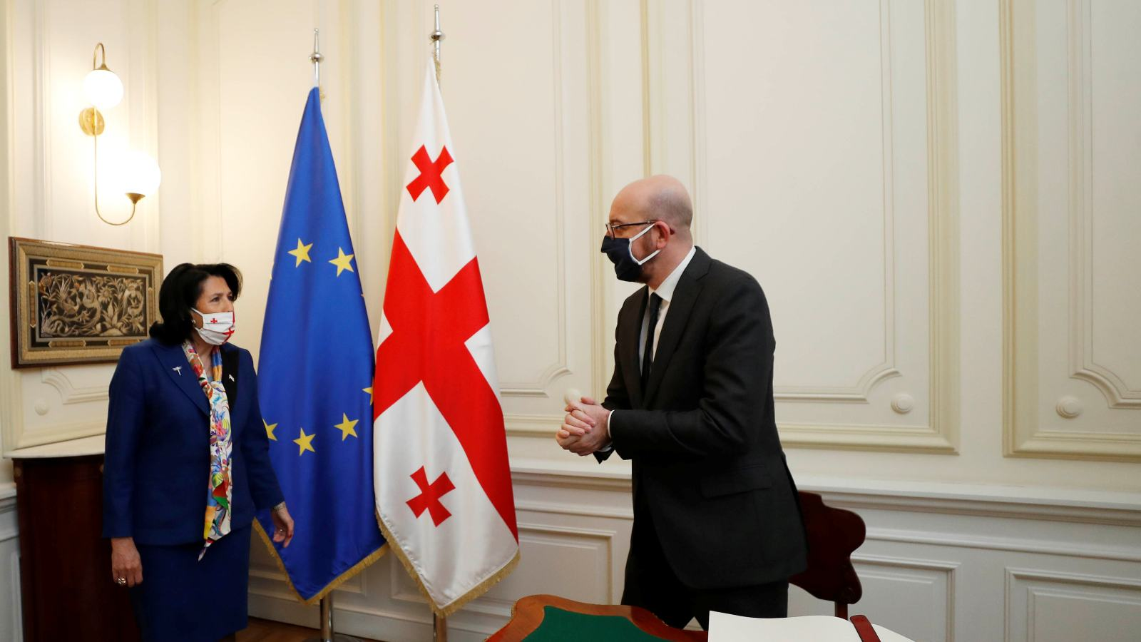 Georgia's President Salome Zurabishvili attends a meeting with European Council President Charles Michel in Tbilisi, Georgia March 1, 2021. Georgian Presidential Press Service/Handout via REUTERS