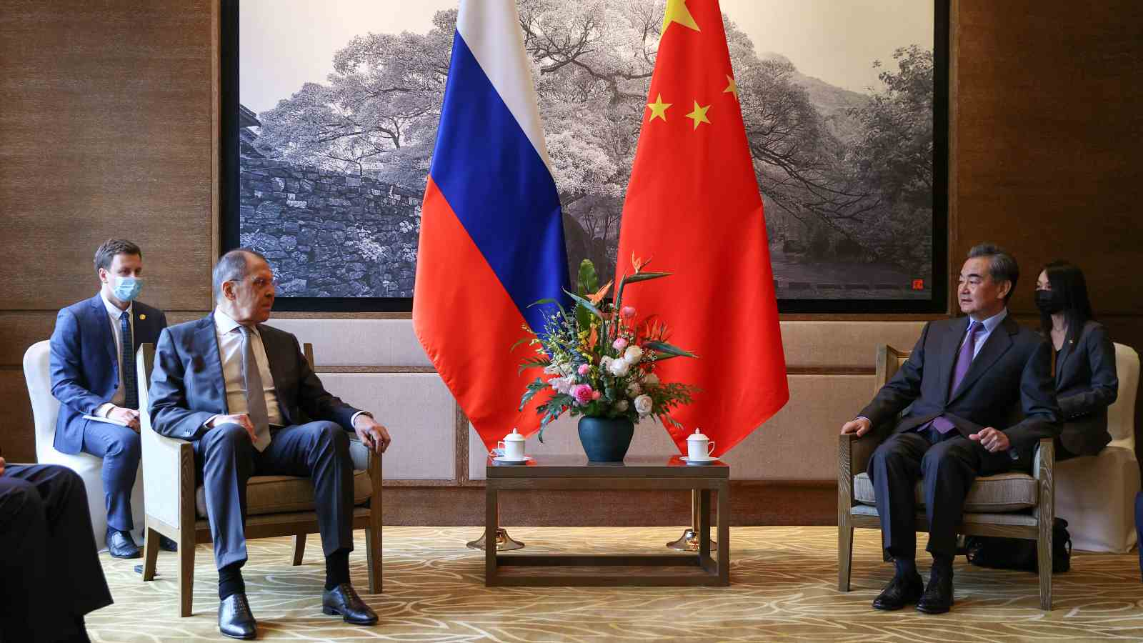 Russia's Foreign Minister Sergei Lavrov and China's Foreign Minister Wang Yi (L-R front) meet for talks. Russian Foreign Ministry/TASS.No use Russia.