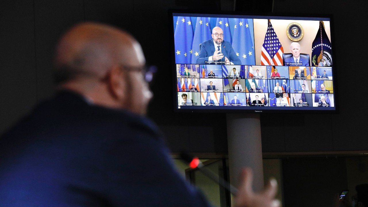 Photo: Video conference of the members of the European Council during a speech by Charles Michel, President of the European Council, to President Joe Biden. Credit: European Council.